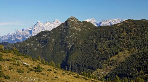 Na poti na Steinfeldspitze - Strimskogel in zadaj Dachstein