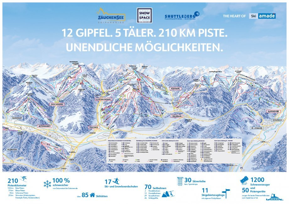 Pistenplan Heart of Ski Amadé