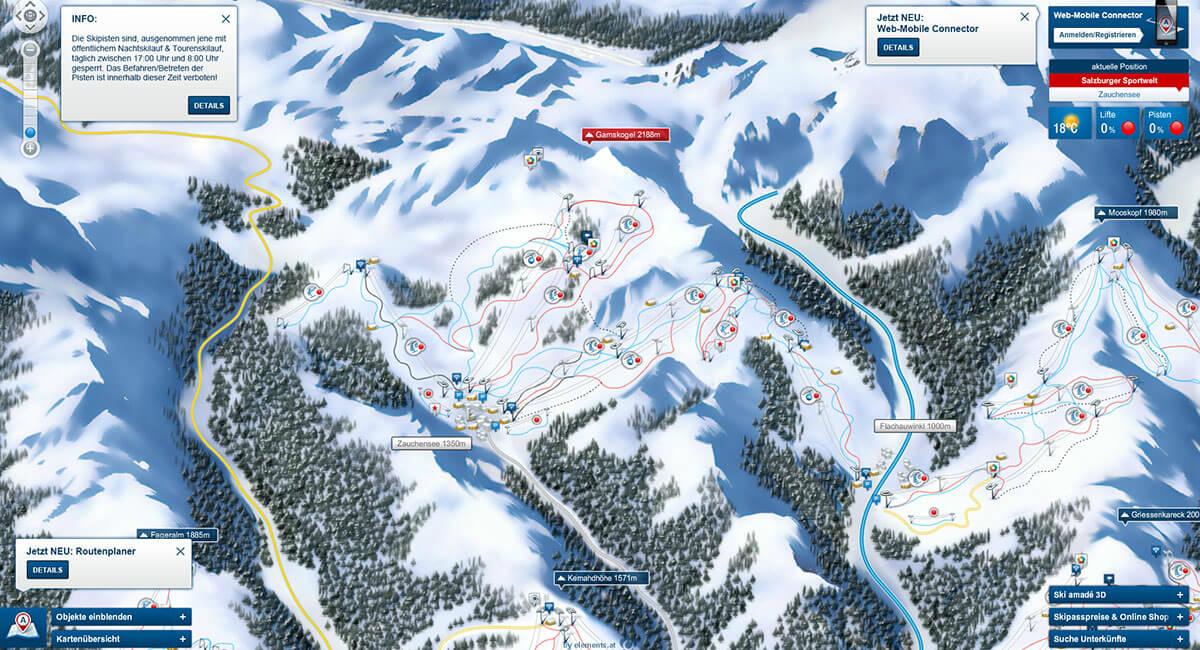Pistenpanorama - Skigebiet Zauchensee - Flachauwinkl