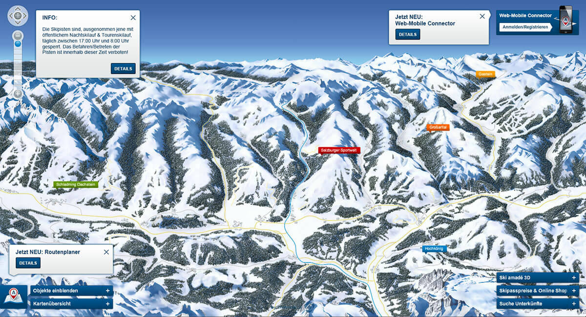 Pistenpanorama - Skiverbund Ski amadé