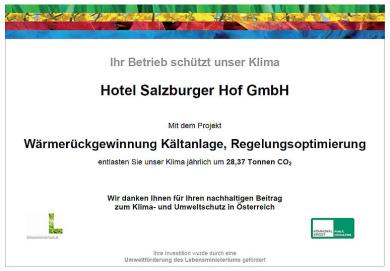 Zertifikat Wärmerückgewinnung - 4 Sterne Superior Hotel Salzburger Hof